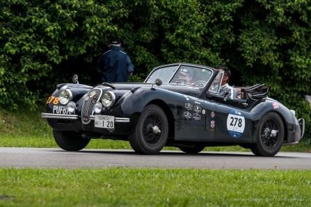 "Akihiro Yukawa and Yoko Yukawa, Jaguar XK 120 DHC (1953). Circuito Di Prova Alfa Romeo Arese, May 2018. Nikon D750, 290 mm (80-400 mm ƒ/4.5-5.6) 1/640"" ƒ/9 ISO 400"