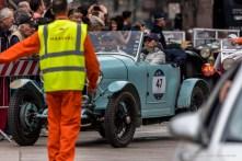 "Kyoto Takemoto and Junko Takemoto (J) on Bugatti Type 40 (1928). Piazza Duomo, Milano, May 2018. Nikon D750, 400 mm (80-400 mm ƒ/4.5-5.6) 1/400"" ƒ/5.6 ISO 100"