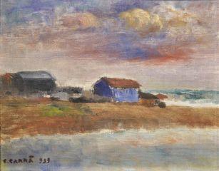 Carlo Carrà Cinqualino, 1939 olio su cartone telato, cm 25 x 30 Firenze, Fondazione di Studi di Storia dell'Arte Roberto Longhi