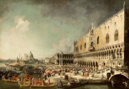 Antonio Canal detto Canaletto, L'ingresso solenne del conte de Gergy. Olio su tela, 181 x 259,5 cm. Museo Statale Ermitage, San Pietroburgo