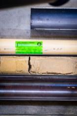 Giorgio Andreotta Calò, Carotaggio, 2014-2015. Caranto, carotiere in acciaio e PVC. 1 elemento/element, 173 x Ø 13,2 cm. Courtesy Sprovieri, London