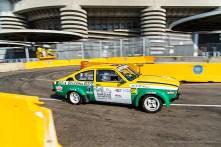 """Riccardo Canzian, con Margherita Potino, terzo classificato nella categoria """"auto storiche""""con la Opel Kadett GT/E Gruppo 4 al tornante del Gate 6 di San Siro"""