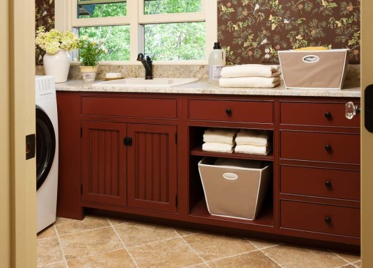 Small Laundry Room Wooden Laundry Cabinet Trevertine Tile Floor