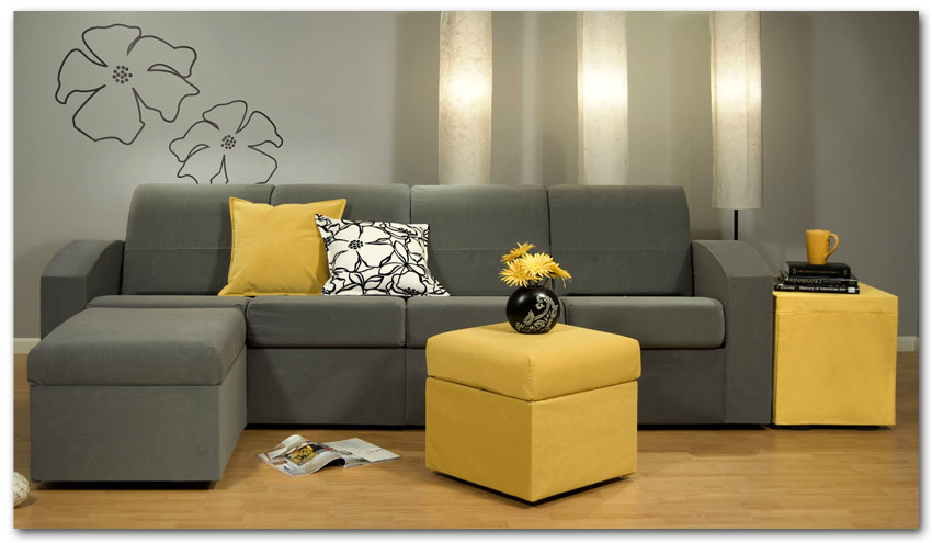 Elegant Contemporary Grey Small Sectional Sofa Yellow
