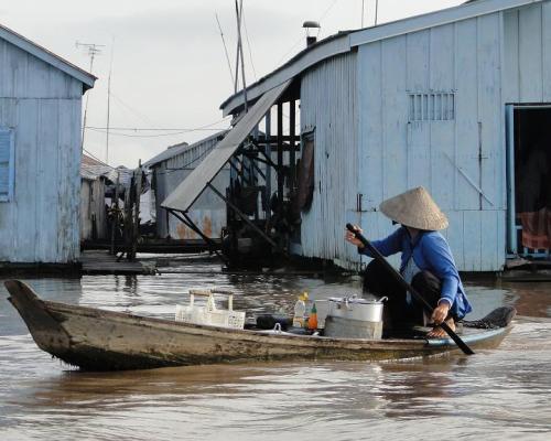 Hacia las granjas de pesca en Chau Doc
