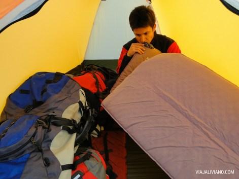 Nuestra carpa en el Campamento en el Refugio Piedra Grande