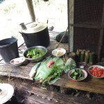 Los ingredientes para preparar la cena, entre otras cosas nos hicieron una sopa de flor de banano sencillamente deliciosa