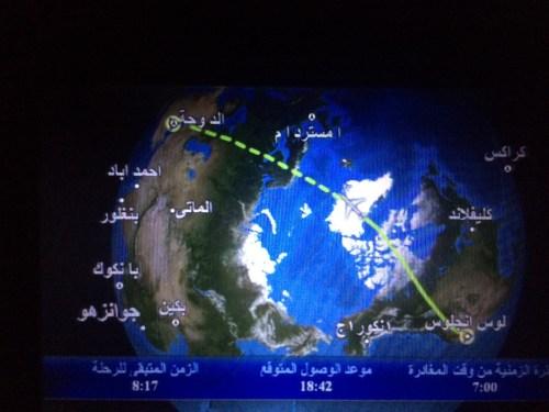 Cruzando el Polo norte de Estados Unidos a Qatar