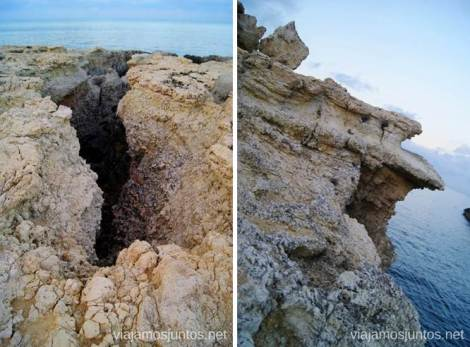 Las formas extrañas de la costa accidentada Rutas de senderismo fáciles por la isla de Ibiza. Invierno o verano. Playa, montaña y calas secretas