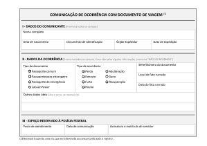 Comunicação de Ocorrência com Documento de Viagem