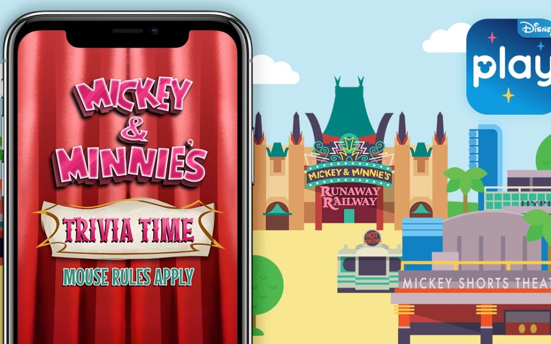 Mickey & Minnie's Trivia Time no aplicativo Play Disney Parks