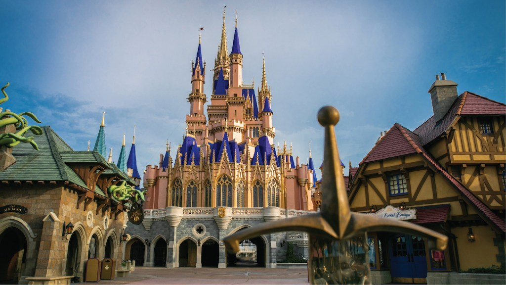 Newly painted Cinderella Castle at Magic Kingdom Par