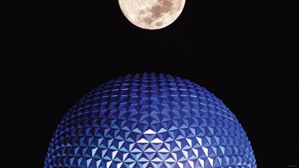 Photo of Spaceship Earth at EPCOT lighting up for for the first time