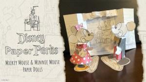 Disney Paper Parks com bonecos de papel de Mickey e Minnie