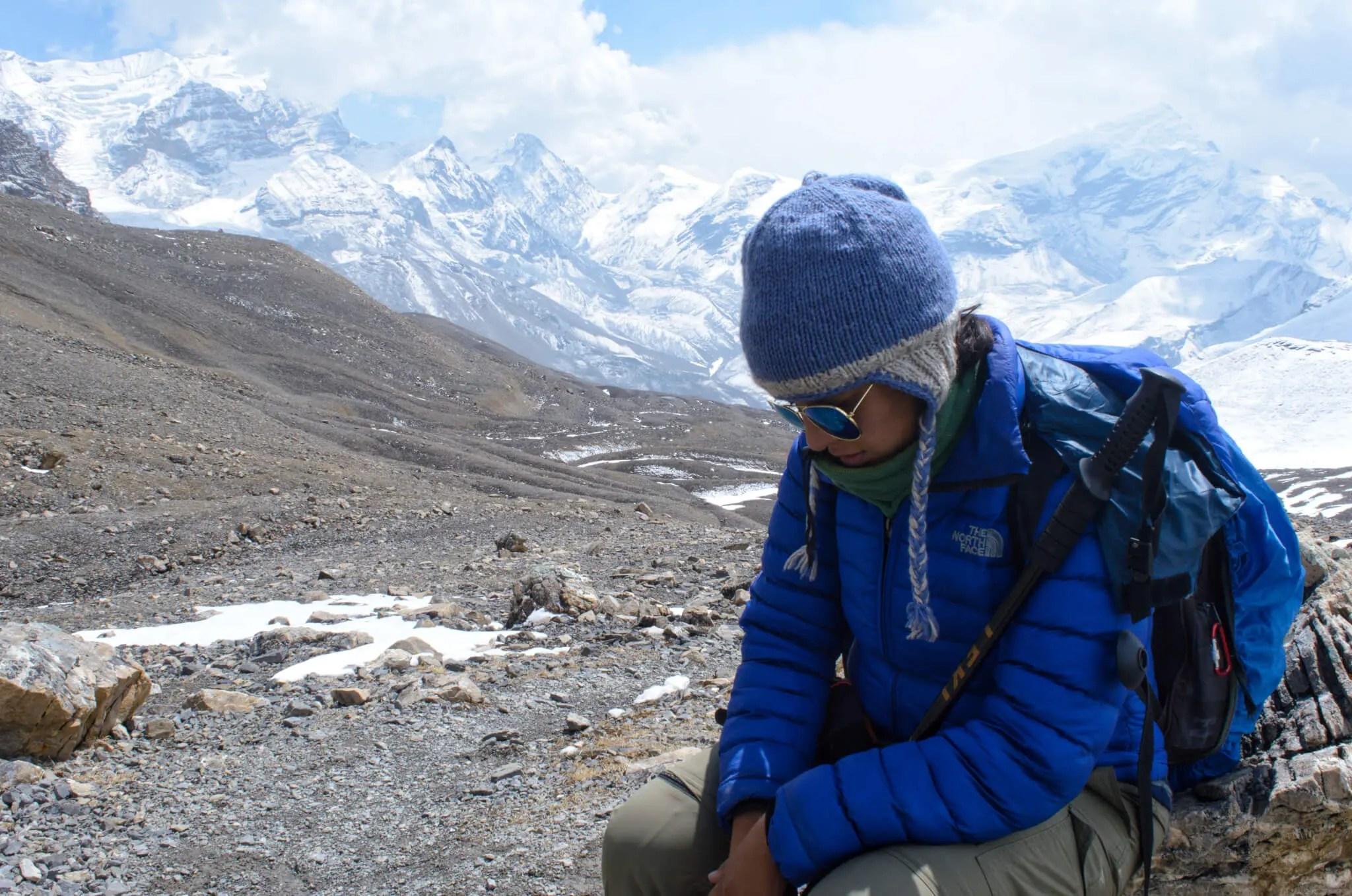 Celeste descansando en el Circuito de Annapurna