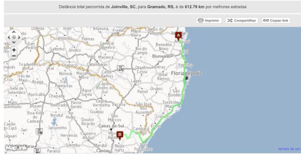 Rota de Joinville até Gramado - Viagem de Carro