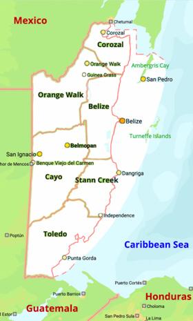 Veja no mapa onde fica Belize