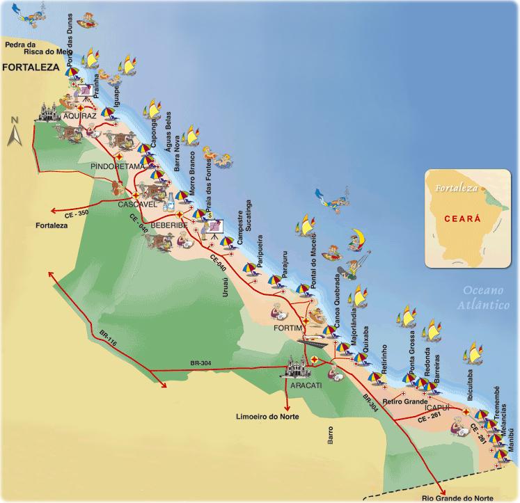 Mapa das Melhores praias do litoral leste do Ceará