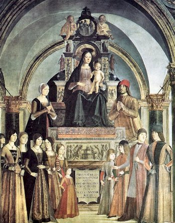 Retrato de la familia Bentivoglio por el pintor Lorenzo Costa