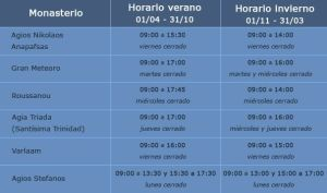 Meteora Horarios Monasterios