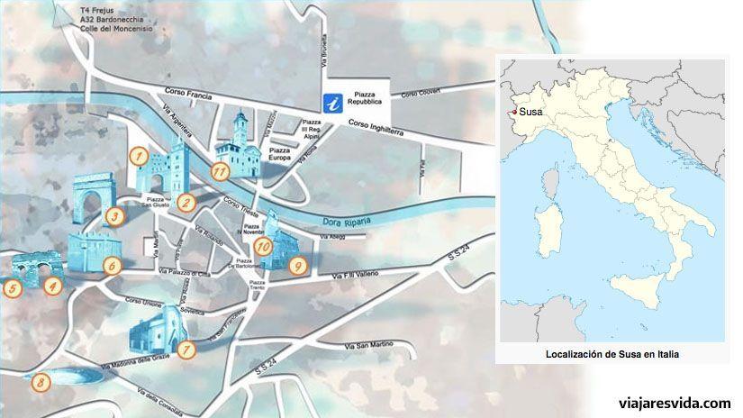 Plano del centro histórico de Susa