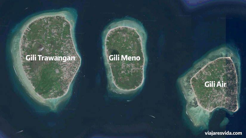 Mapa de las islas Gili