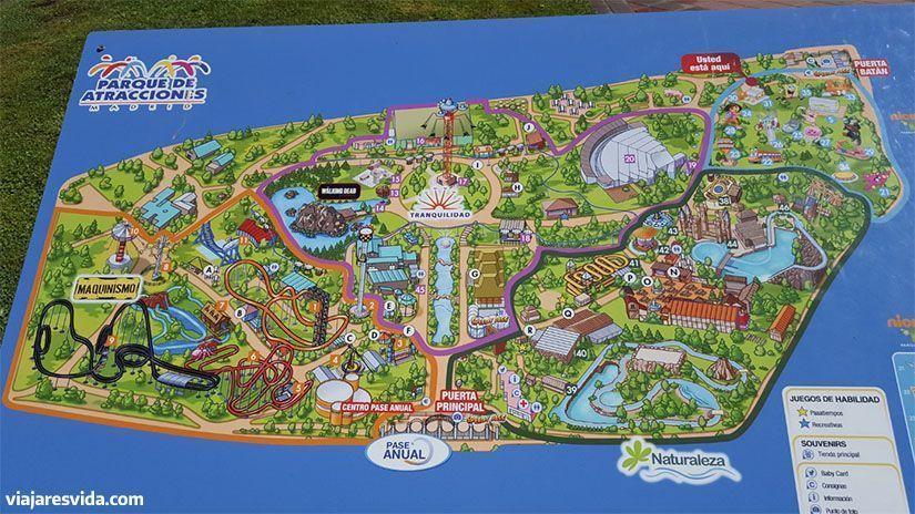 Mapa del parque de atracciones de Madrid