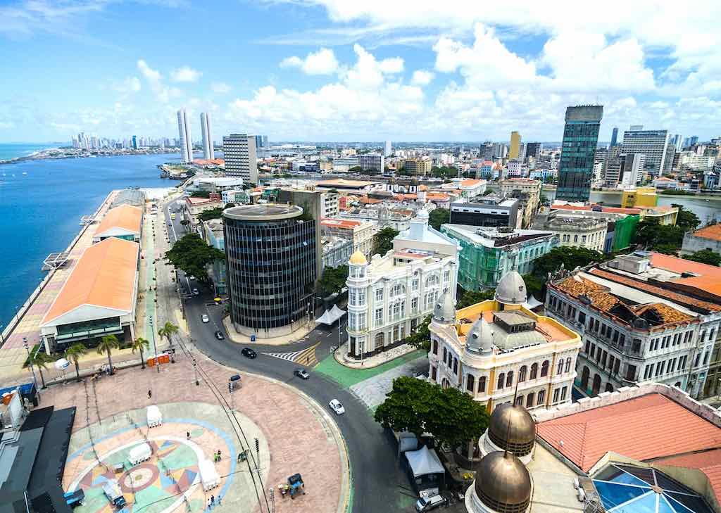 Vista aérea de la plaza Marco Zero, Recife
