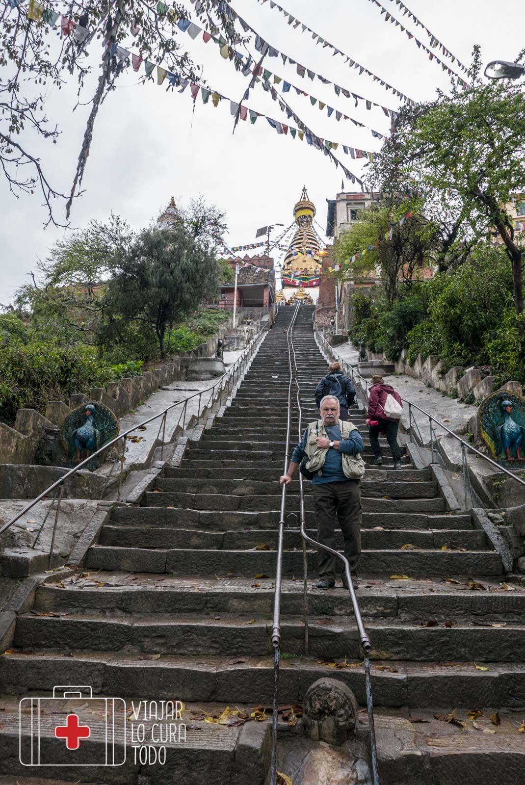 Subida al templo de los Monos en Kathmandú