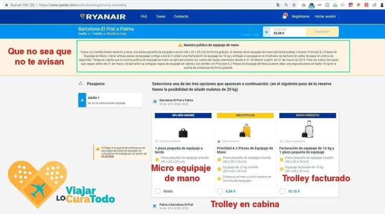 equipaje de mano de Ryanair