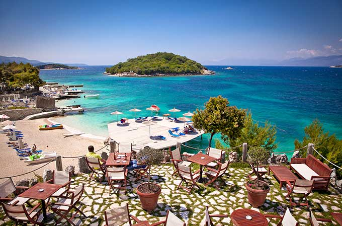 albania-sunshade-umbrellas-on-ksamil-beach
