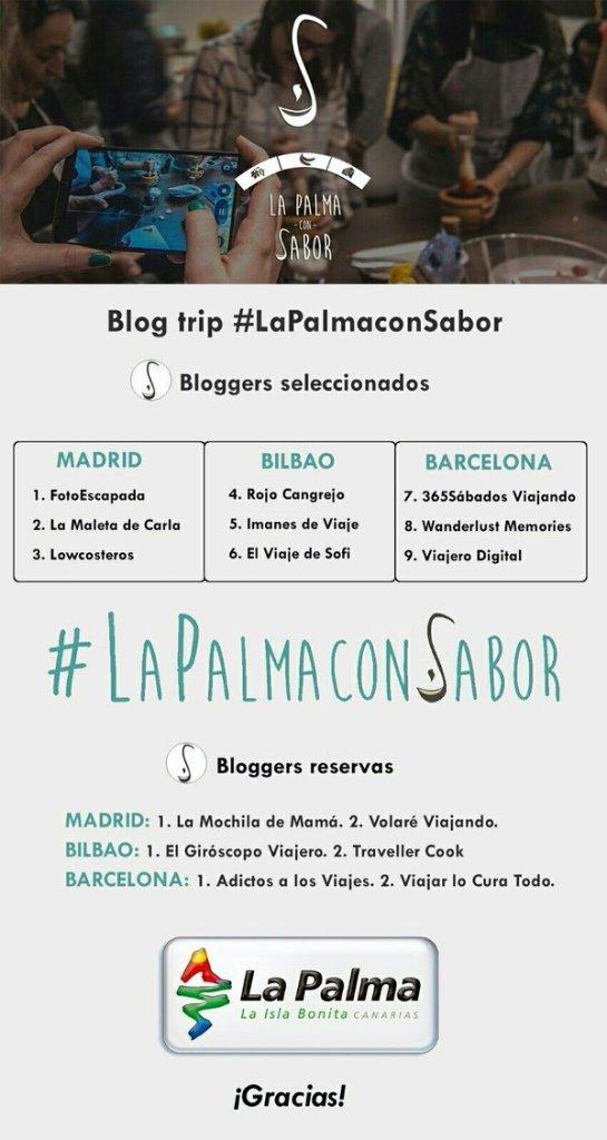 Bloggers seleccionados para asistir al blogtrip #LaPalmaConSabor