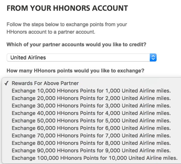Hilton HHonors puntos a Millas
