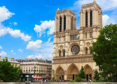 Notre Dame cathedral facade in Paris,