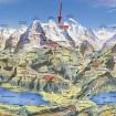 Mapa y tren a la Jungfrau