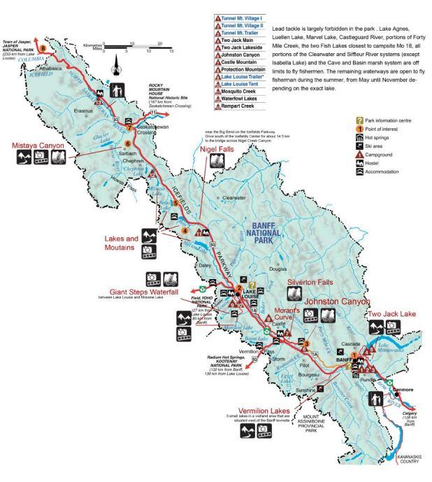 mapa Banff Parque Nacional