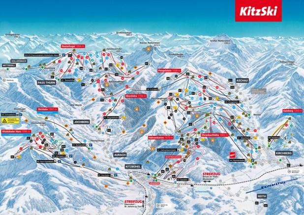 Mapa de pistas de esquí en Kitzbühel