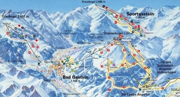 Mapa de la pista de esquiar Bad Gastein (Austria)
