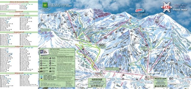 Mapa de pistas en Alta (Utah)
