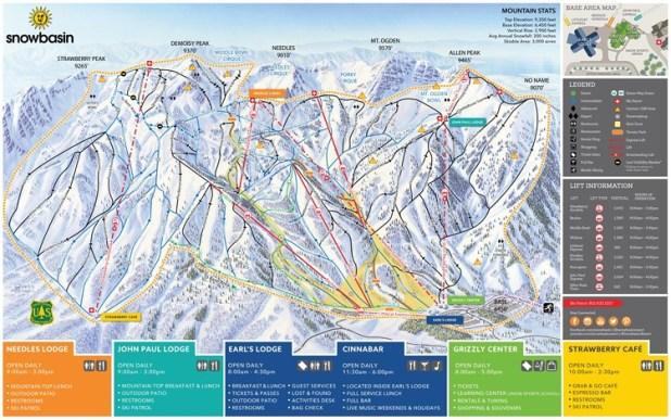 Mapa de pistas de esquí de Snowbasin