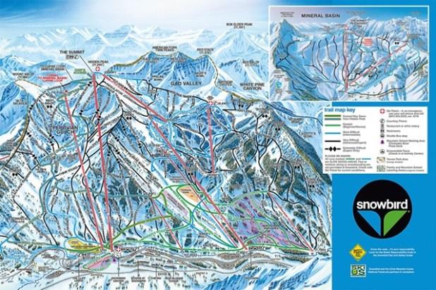 Mapa de pistas de esquí en Snowbird (Utah)