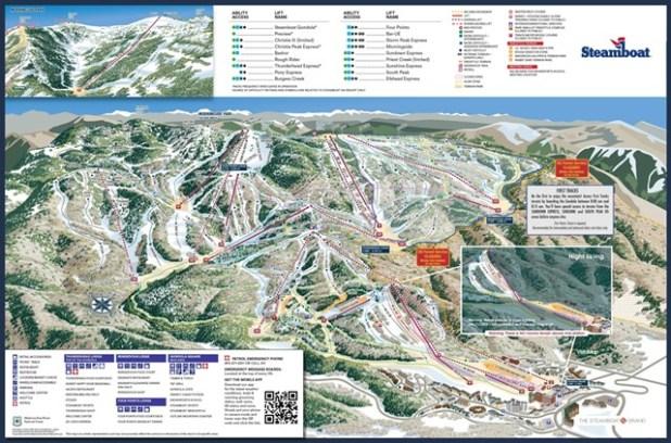 Steamboat, Colorado mapa pistas esqui