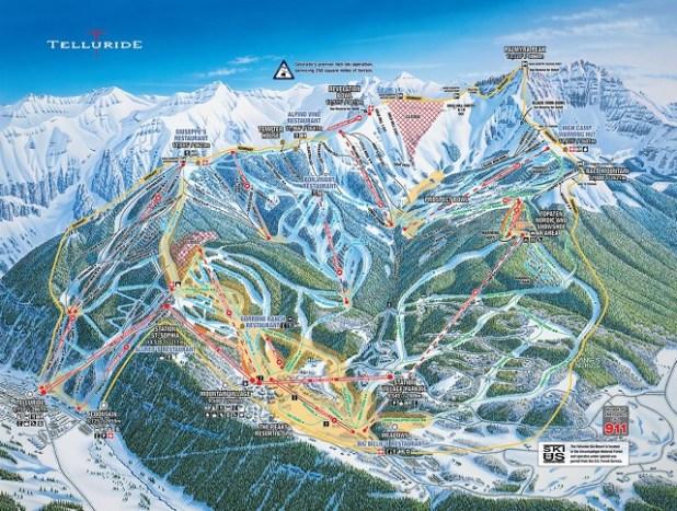 Mapa de pistas de esquí en Telluride (Colorado)