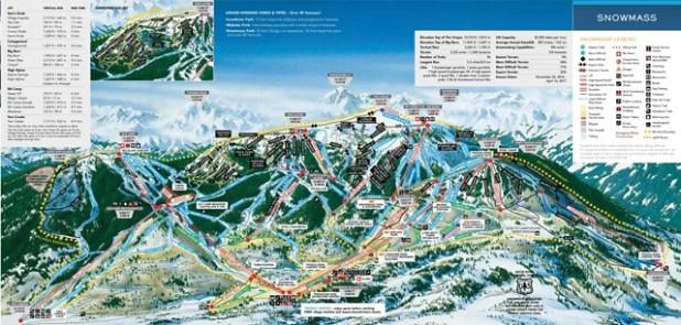 Mapa de pistas de esquí de Aspen Snowmass