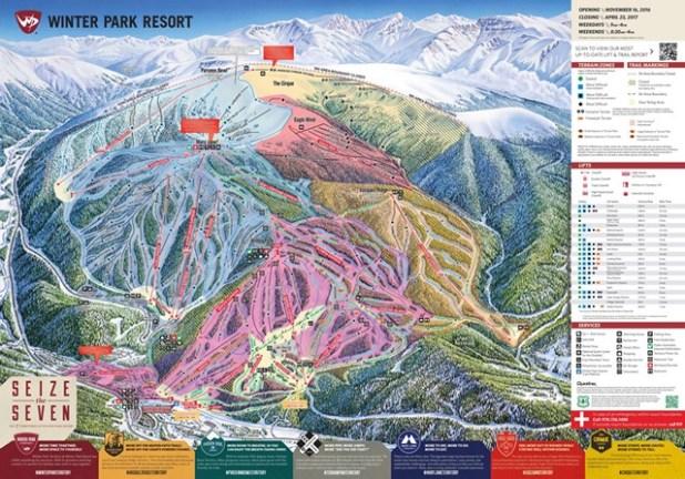 Mapa de pistas de esquí en Winter Park (Colorado)