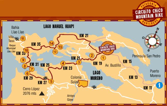 Mapa recorrido en bicicleta Circuito Chico (Bariloche)