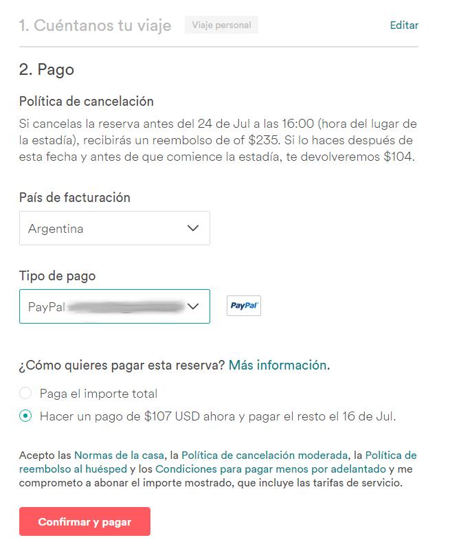 Como pagar una reserva de Airbnb en cuotas