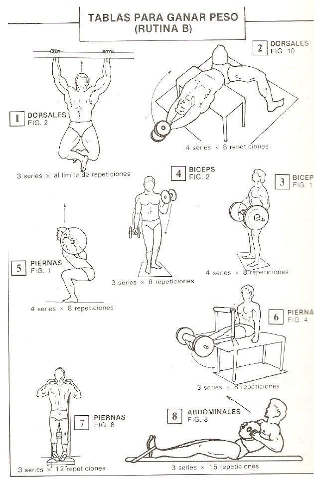 Rutina de ejercicio para ganar peso