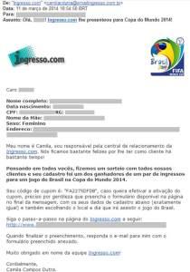 E-mail com dados roubados pela falha de segurança no Ingresso.com
