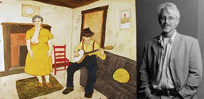 "Steve Sherrill with his painting ""Dear Abby VIII"""